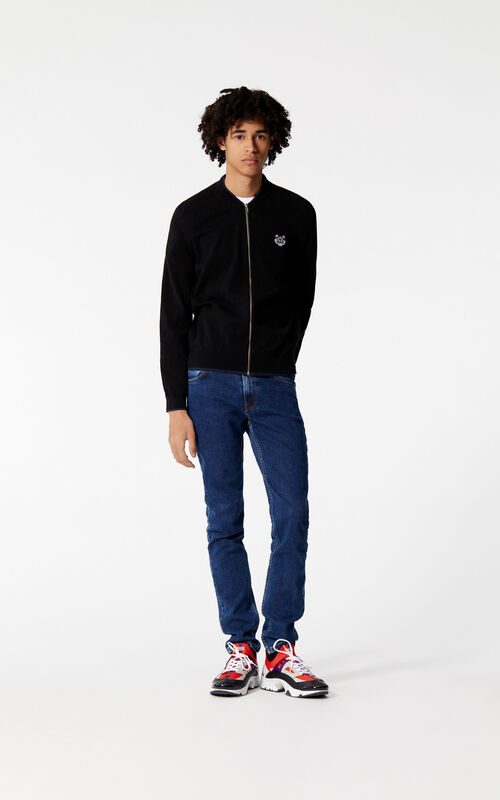BLACK Zipped Tiger jumper for men KENZO