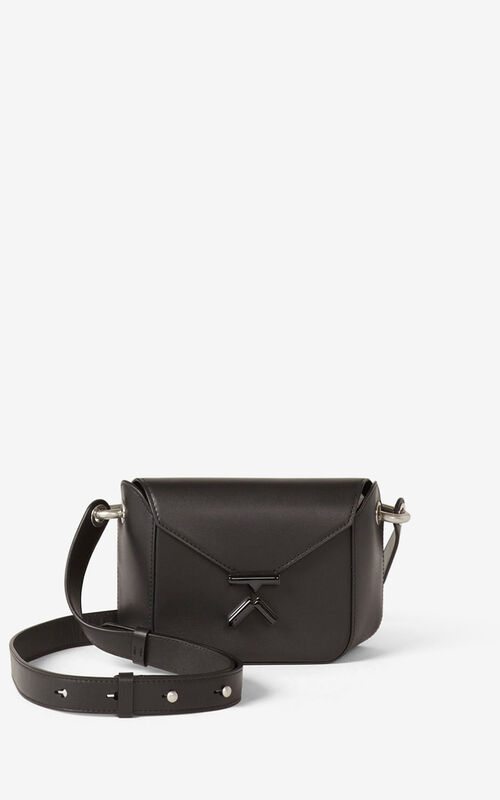 BLACK KENZO K small leather crossbody bag for unisex