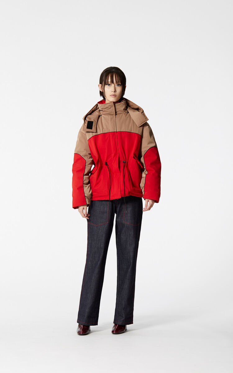 MEDIUM RED Colourblock parka with hood for women KENZO