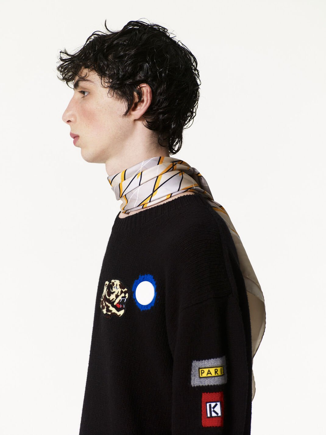 BLACK Multi Icons Badges Sweater for men KENZO