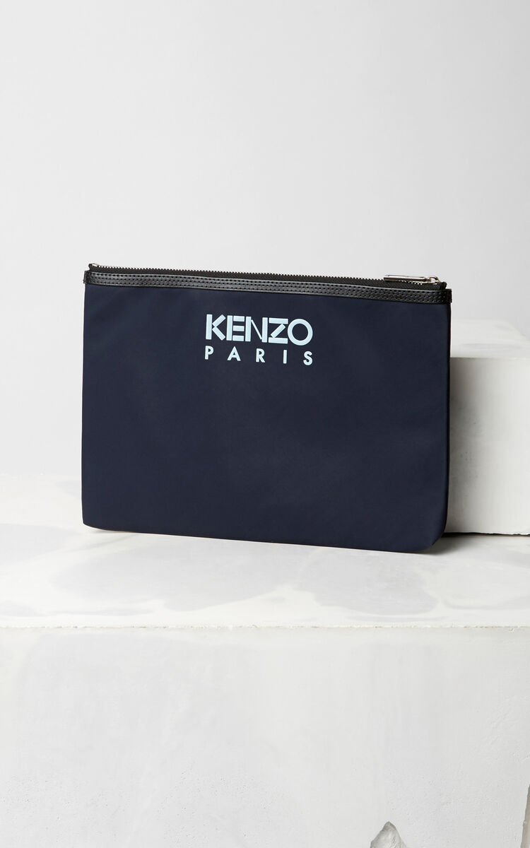 NAVY BLUE 'Tiger Face' Clutch for unisex KENZO