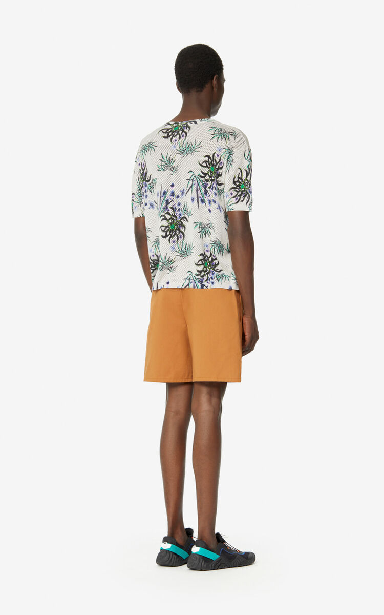 ECRU Dual-material 'Sea Lily' T-shirt for men KENZO