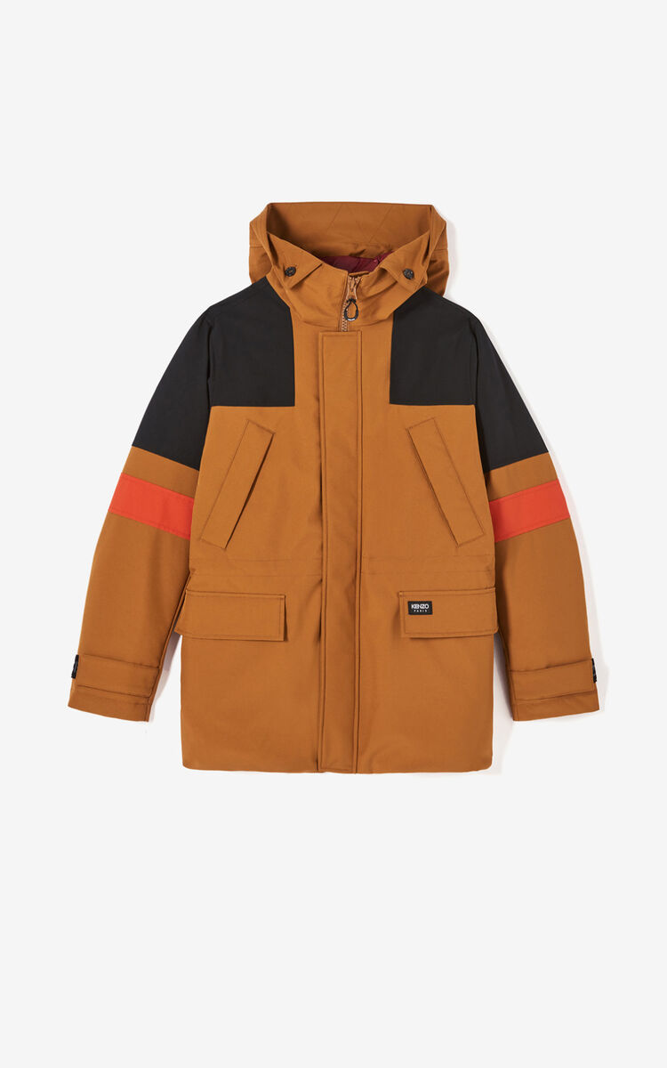DARK BEIGE Long colour-block parka jacket for men KENZO