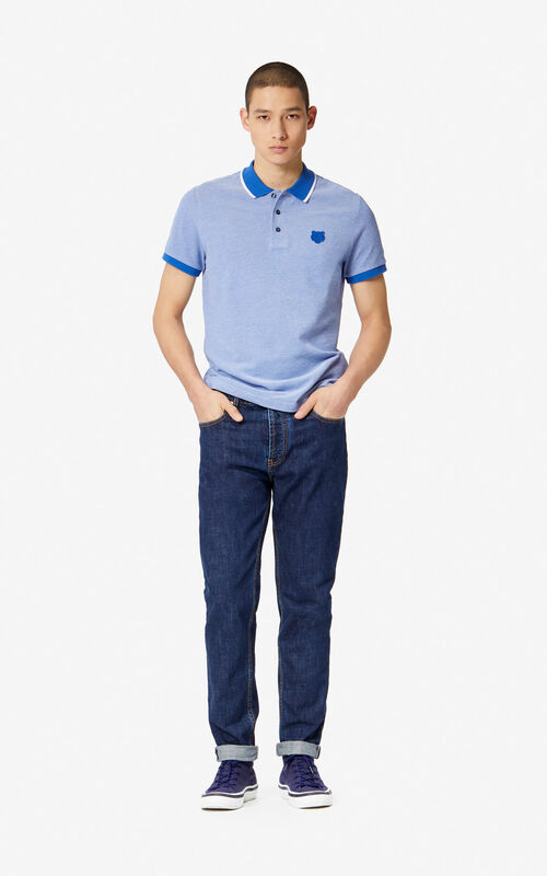FRENCH BLUE Fitted Tiger polo shirt for men KENZO