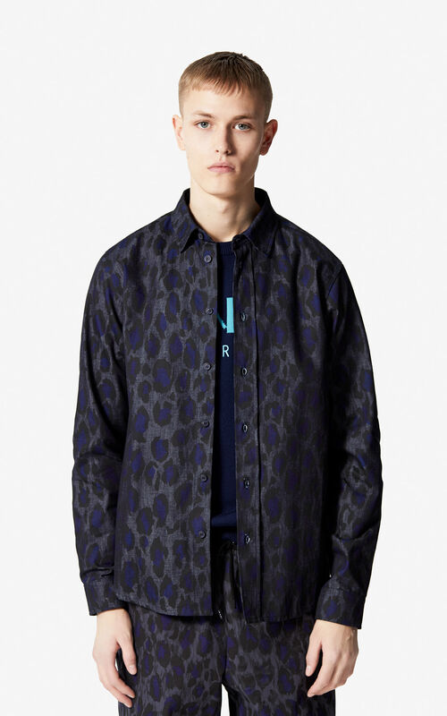 ANTHRACITE 'Leopard' denim shirt for men KENZO