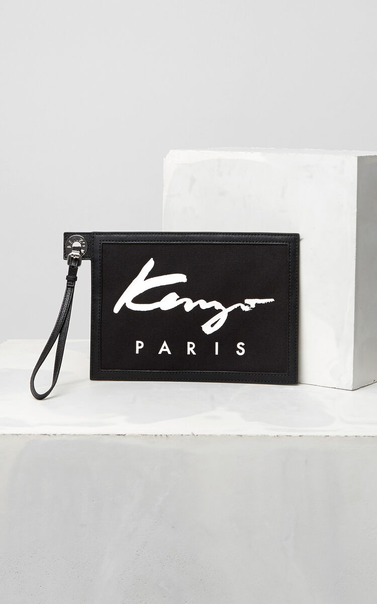 BLACK A5 KENZO Signature Clutch for unisex