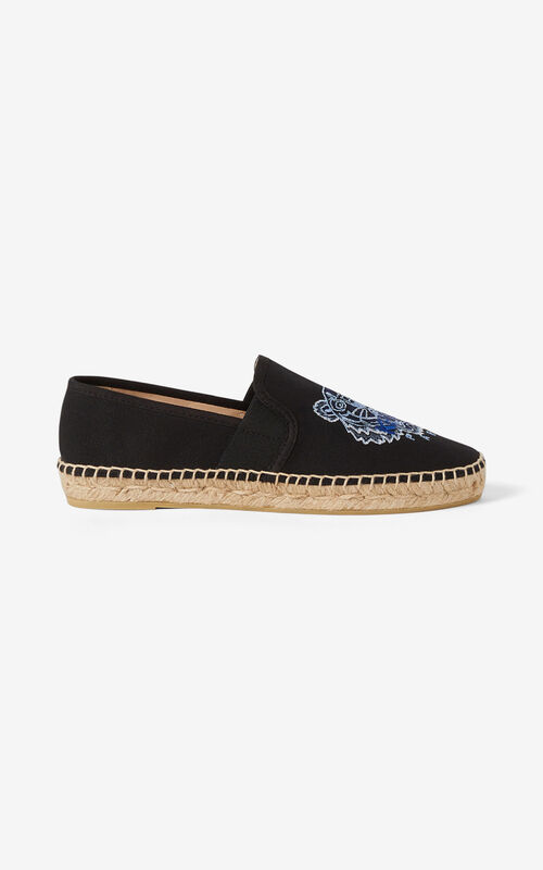 BLACK Tiger elasticated canvas espadrilles for women KENZO