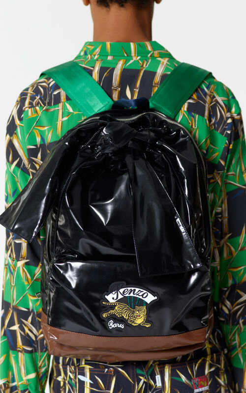 BLACK 'Bamboo Tiger' backpack for men KENZO
