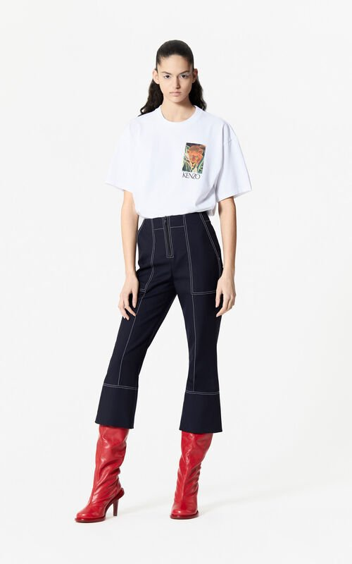 NAVY BLUE 7/8 trousers for women KENZO