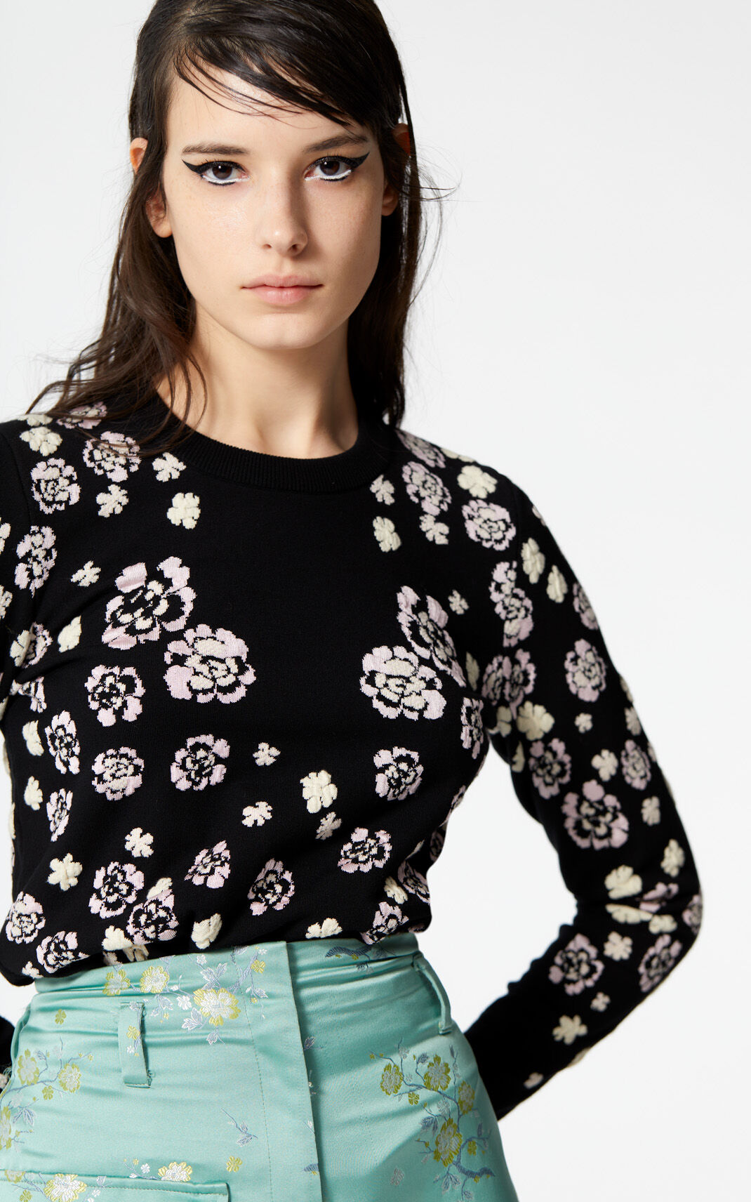 BLACK 'Cheongsam Flower' jumper for women KENZO