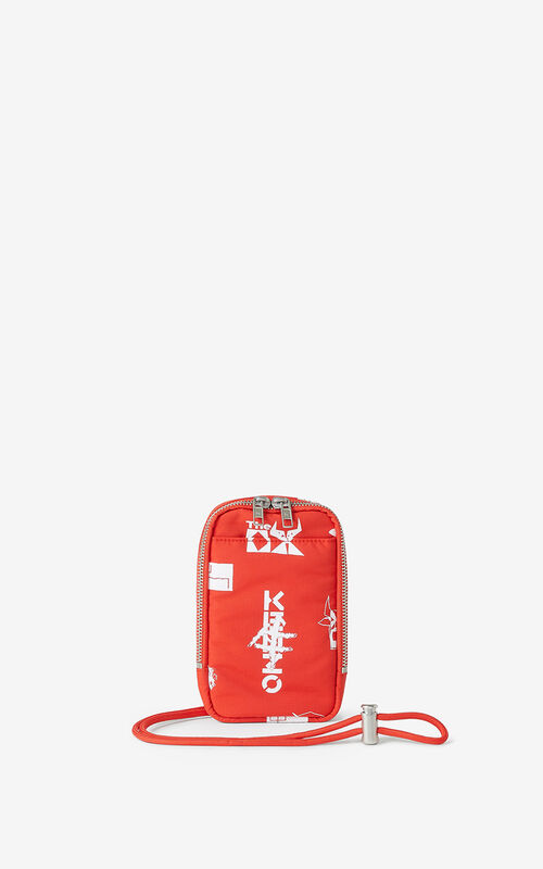 MEDIUM RED 'Sign & Symbol' phone holder for women KENZO