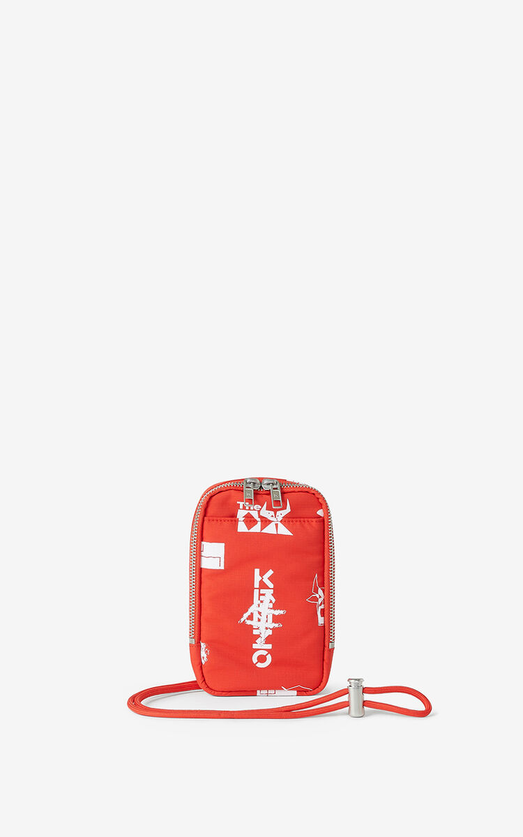 MEDIUM RED 'Sign & Symbol' phone holder for unisex KENZO
