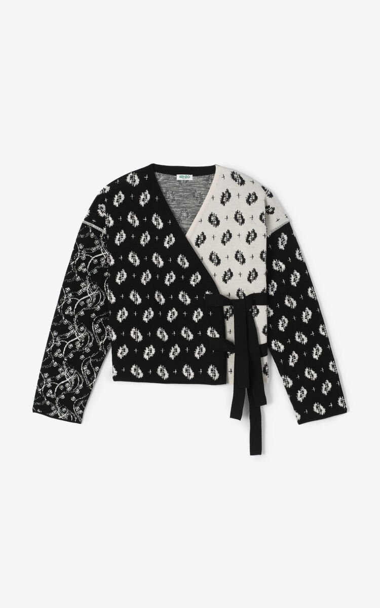BLACK 'Ikat & Urchin Waves' cardigan for women KENZO
