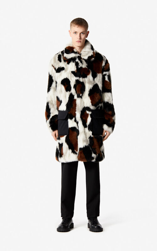 WHITE Faux fur 'Leopard' Coat for men KENZO