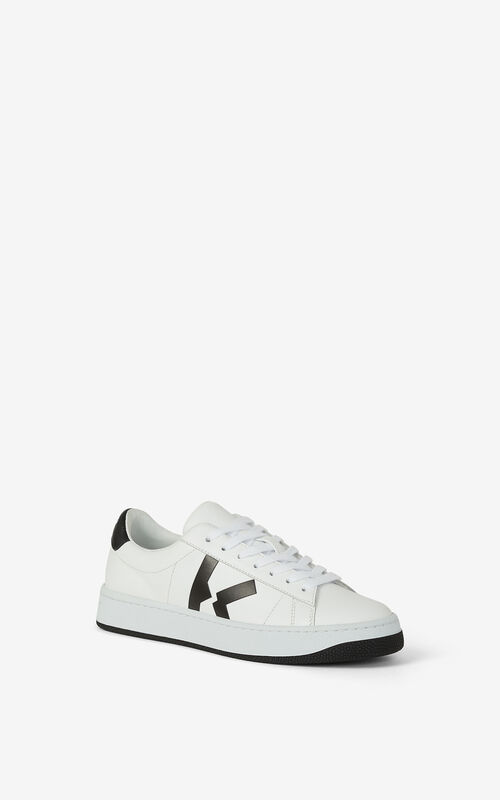 WHITE Leather KENZO Kourt K Logo trainers for unisex
