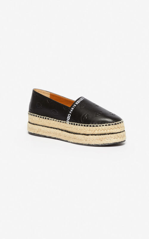 BLACK Multi Eye platform espadrilles for women KENZO