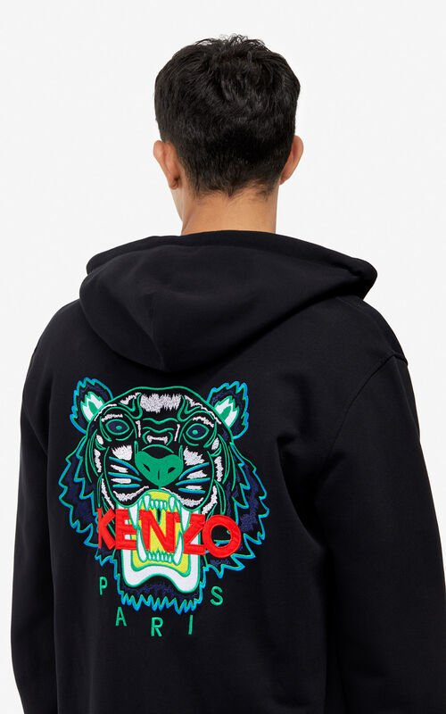 BLACK Tiger zipped sweatshirt for men KENZO ... 3f10100c464