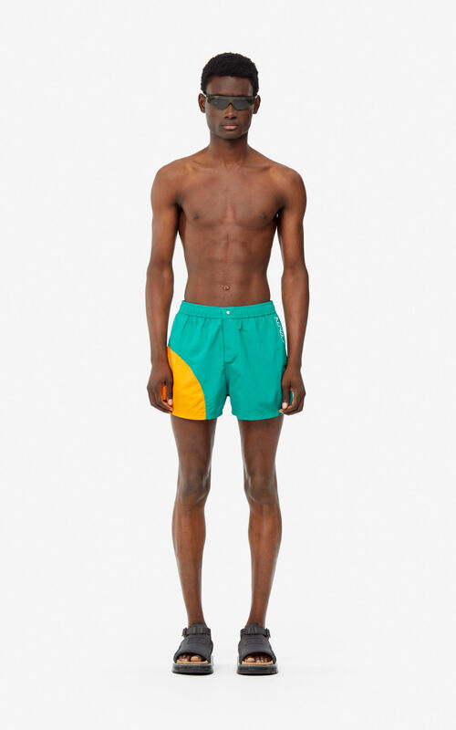GRASS GREEN 'Dots' swim trunks for men KENZO