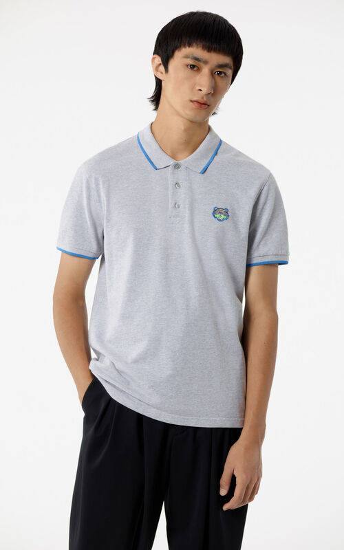 PALE GREY Tiger Polo Shirt for men KENZO