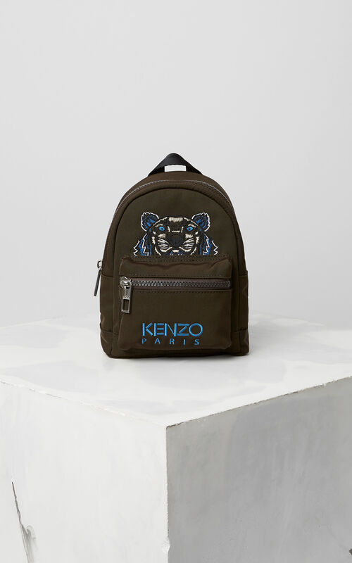 Mini Tiger Canvas Backpack, DARK KHAKI, KENZO