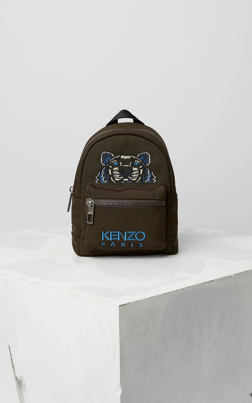 DARK KHAKI Mini Tiger Canvas Backpack for women KENZO