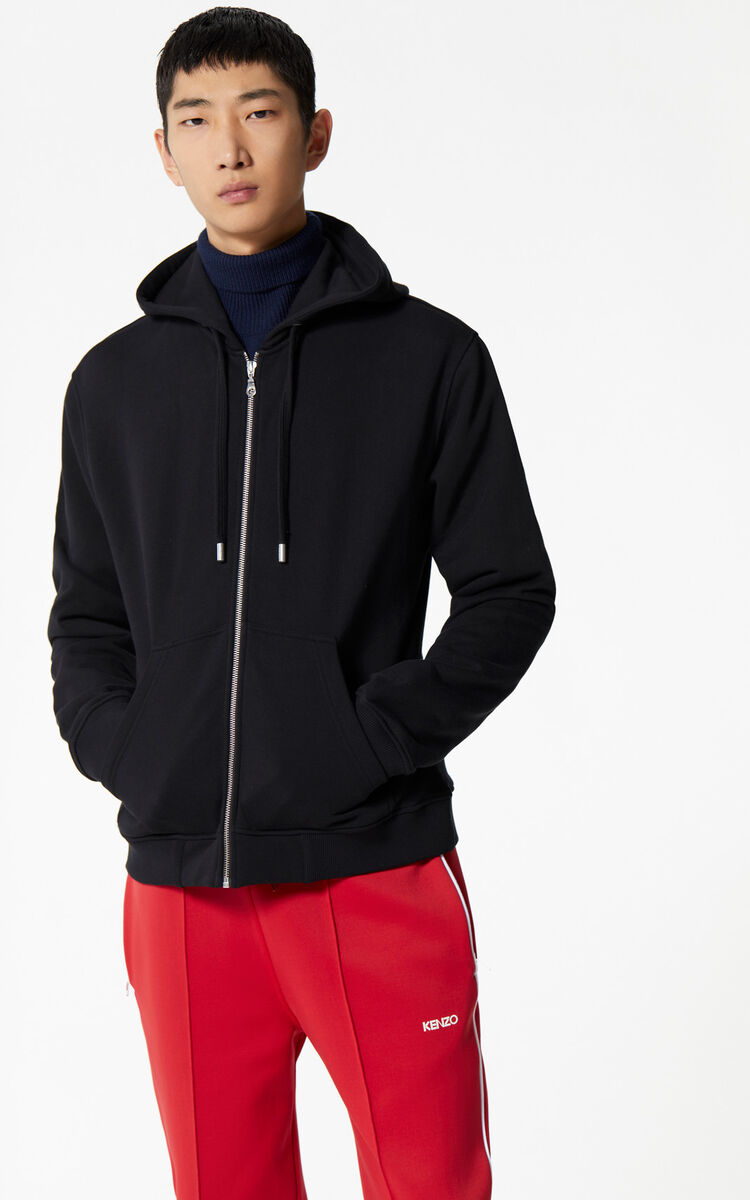 BLACK Tiger zipped sweatshirt for men KENZO