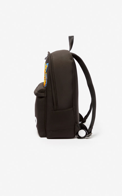 BLACK Large Tiger backpack in neoprene for men KENZO