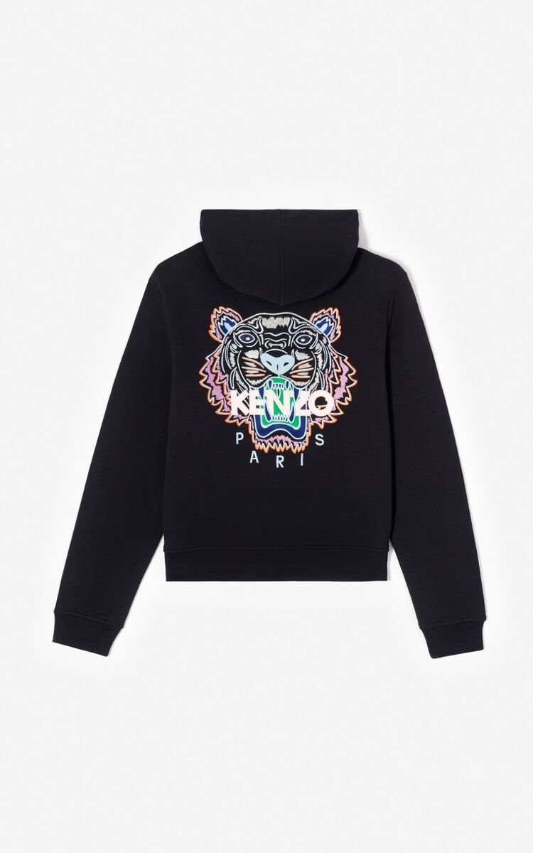 BLACK Zipped Tiger Head sweatshirt for men KENZO