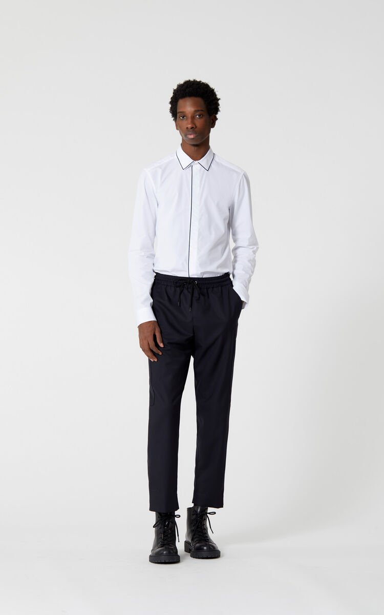 WHITE Shirt with contrasting piping for men KENZO