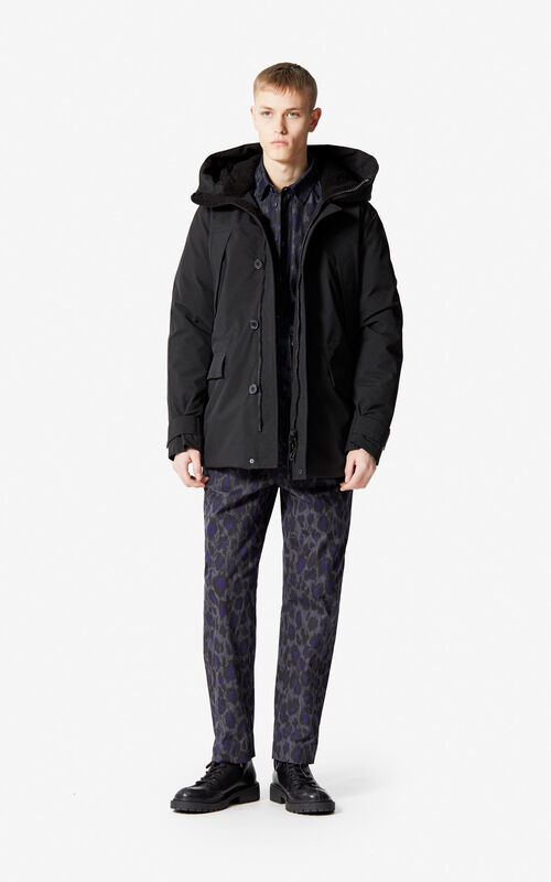 BLACK Hooded parka for men KENZO