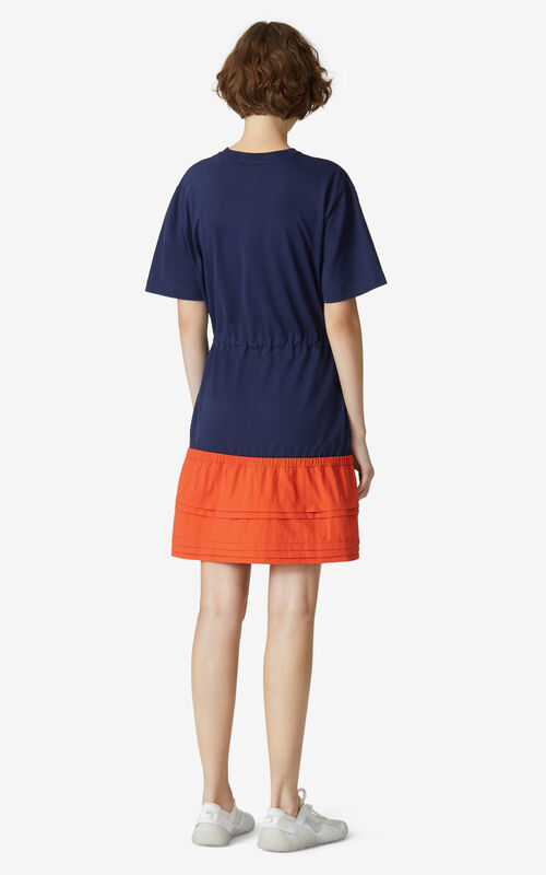 MIDNIGHT BLUE KENZO Sport 'Little X' dual-material dress for women
