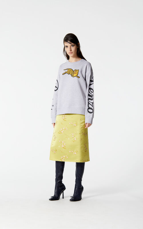 PEARL GREY 'Jumping Tiger' fleece sweatshirt for women KENZO