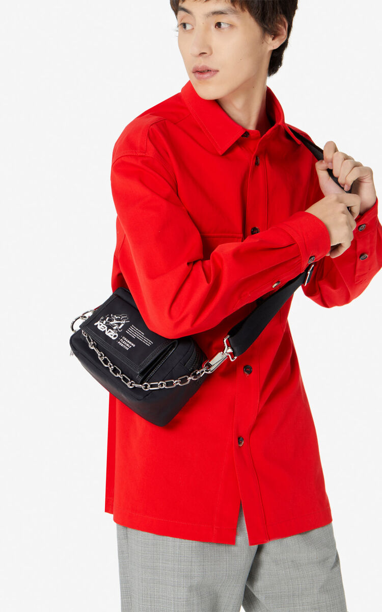 BLACK 'Kung Fu Rat' camera bag for men KENZO