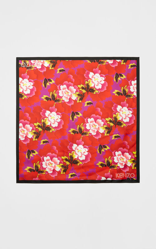 MEDIUM RED Square 'Indonesian Flower' print silk scarf for unisex KENZO
