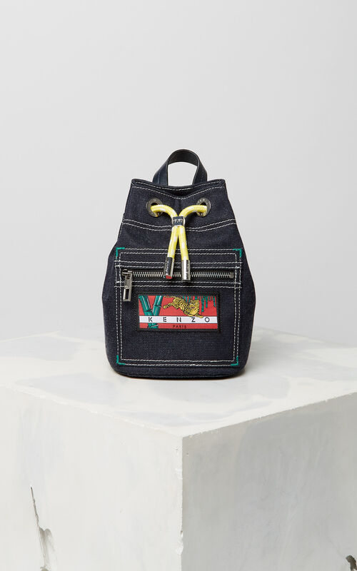 NAVY BLUE Mini denim 'Kanagawa Wave' backpack for unisex KENZO