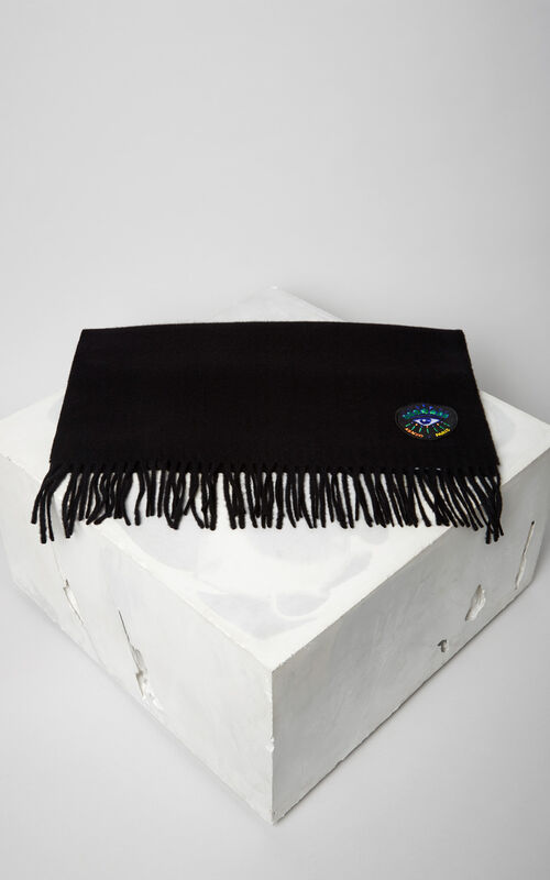 BLACK 'Holiday Capsule Collection' woolly Eye scarf for women KENZO