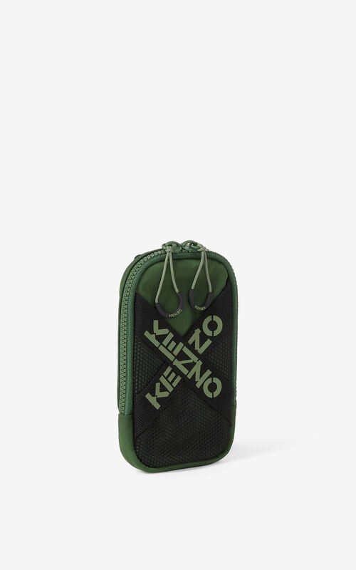DARK KHAKI KENZO Sport crossbody phone holder for unisex
