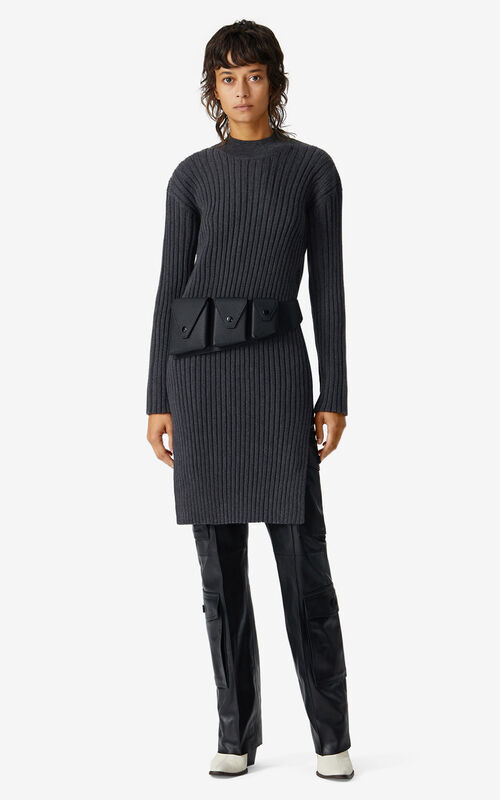ANTHRACITE Merino wool jumper dress for women KENZO