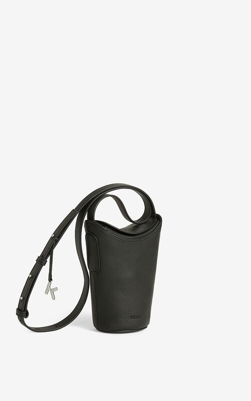 BLACK Small KENZO Onda leather bucket bag for men