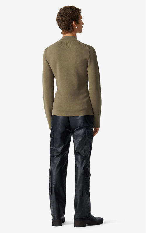 KHAKI Tiger Crest merino wool jumper for men KENZO