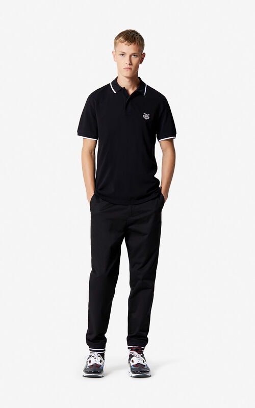 168f756a5bc5 ... BLACK Regular fit Tiger Polo shirt for men KENZO
