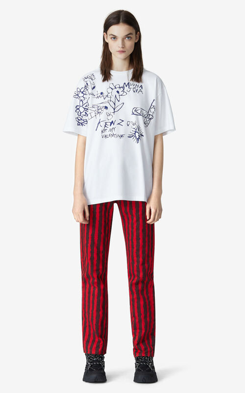 WHITE Valentine's Day Capsule 'Valentine's flowers' oversize T-shirt for women KENZO