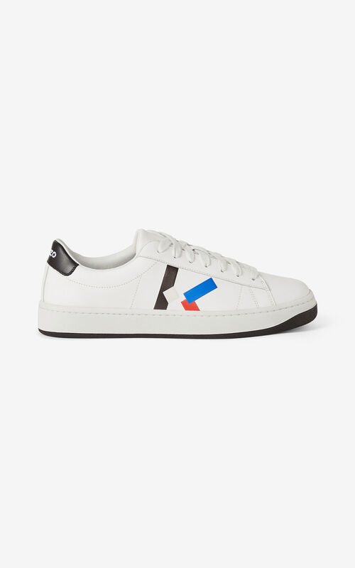 ROYAL BLUE Leather KENZO Kourt K Logo sneakers for unisex