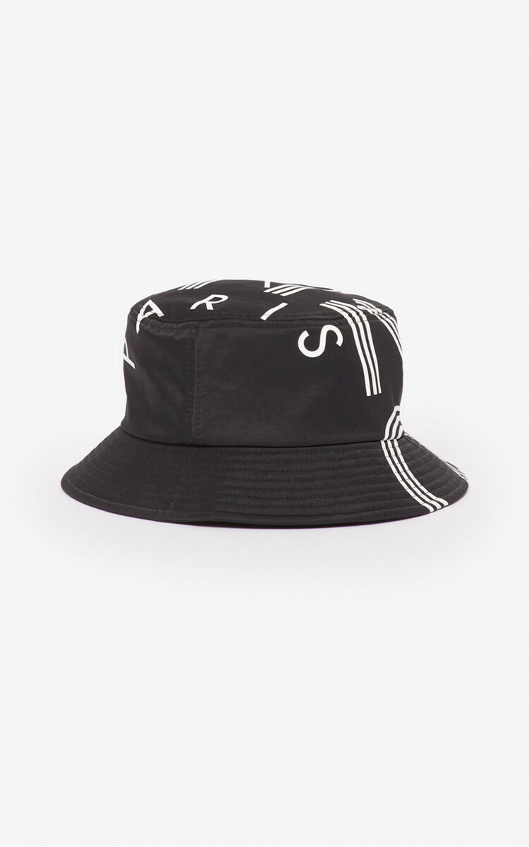 BLACK KENZO Logo bucket hat for men