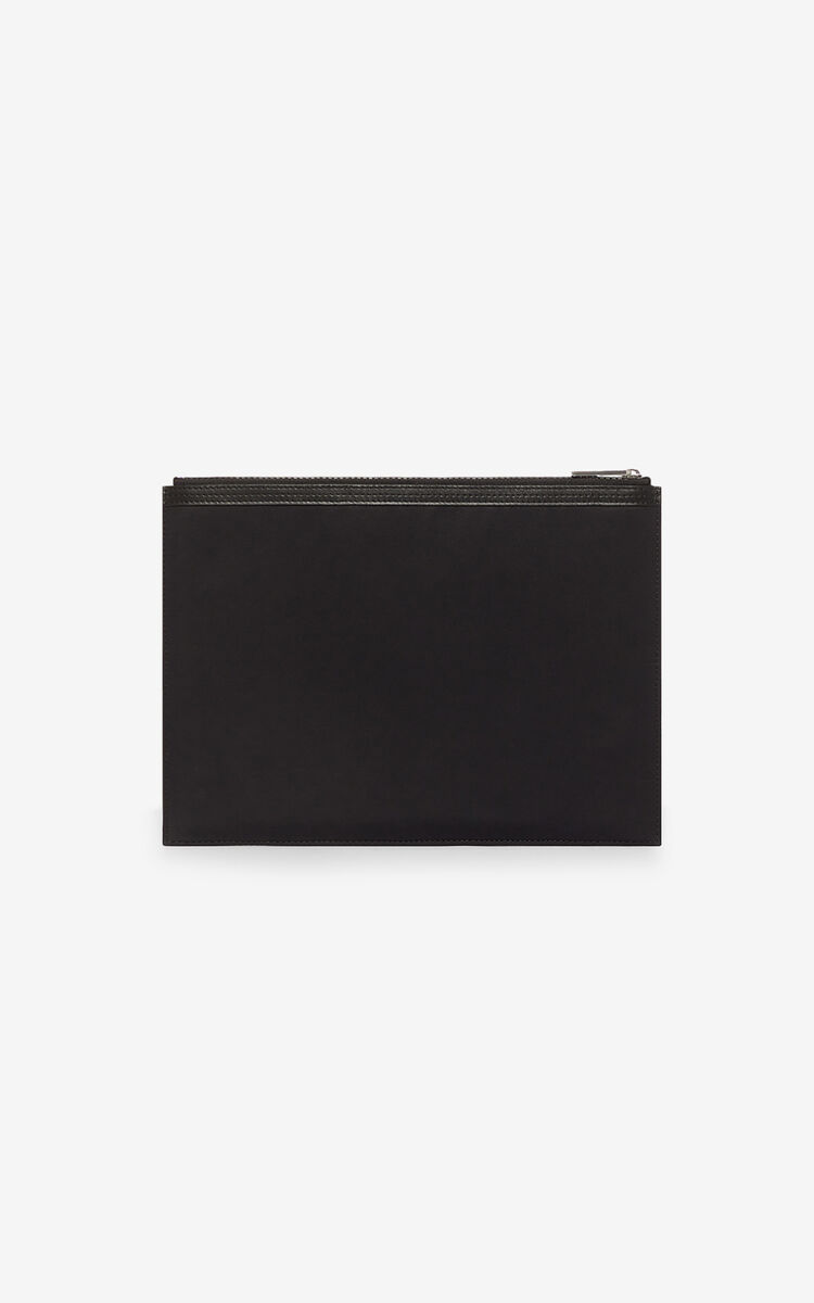 BLACK KENZO Logo A4 clutch  for women