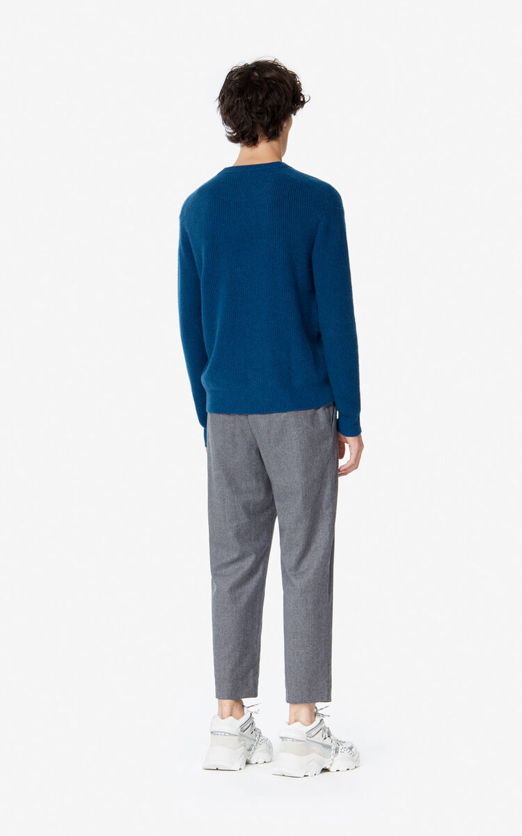 DUCK BLUE 'Holiday Capsule' cashmere Eye jumper for men KENZO