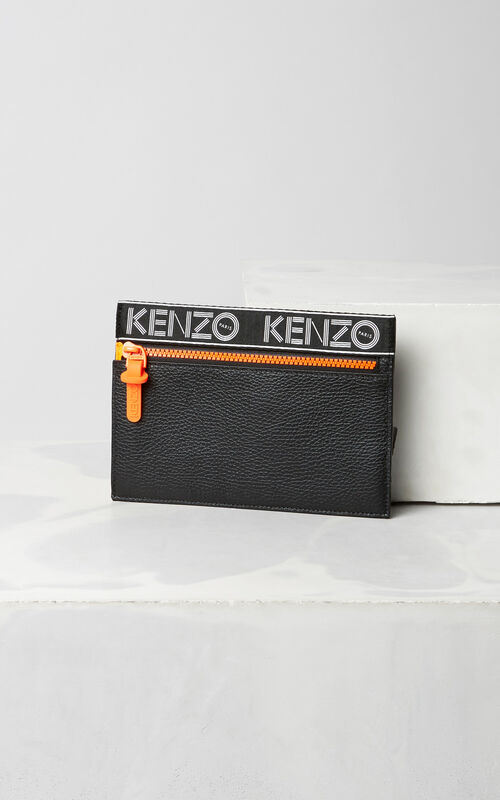 BLACK KENZO Sport A5 Clutch for unisex