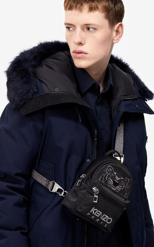 BLACK Mini satin Tiger backpack 'Holiday Capsule' for men KENZO