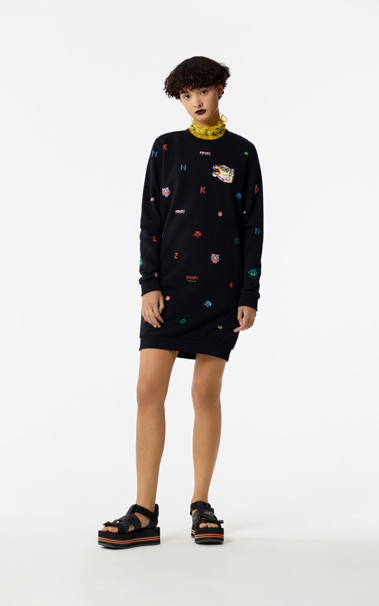 BLACK Multi-icons skater dress for women KENZO