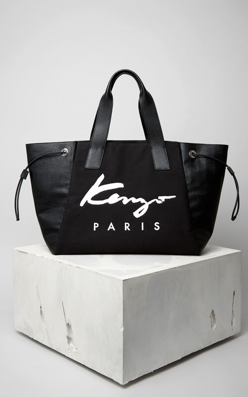BLACK KENZO Signature Large Tote Bag for women